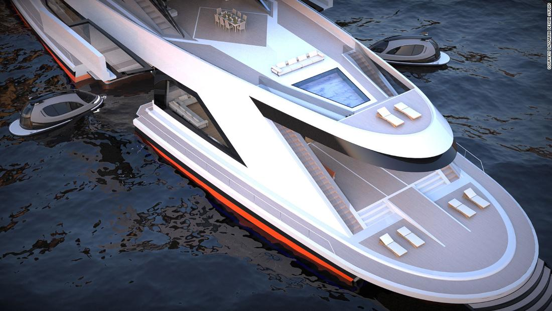 The $300million carbon fiber superyacht concept with its own dockyard