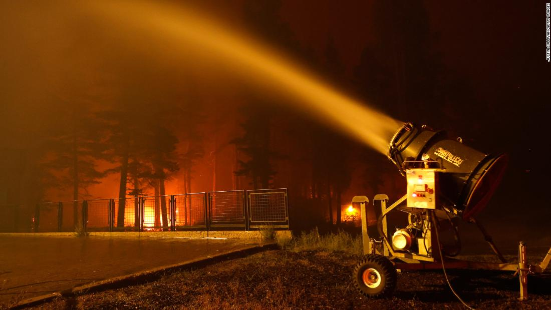 Lake Tahoe ski resorts are using snow blowers to help fight flames from the Caldor Fire