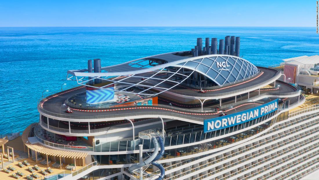 Norwegian Prima: New cruise ship to feature world's first free-fall dry slide at sea and a three-level racetrack